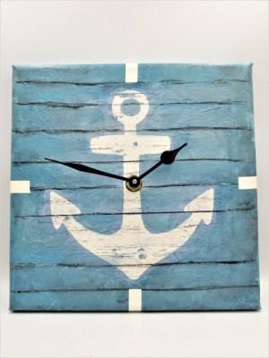 Χειροποίητο Ρολόι ναυτικό σχέδιο καμβάς με την τεχνική του decoupage. Διαστάσεις 20εκ Χ 20εκ