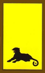 Panthère noire sur fond jaune persan