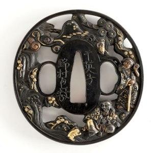 人物と風景の描かれた鍔:19世紀 干英子/野村包教 江州/彦根住