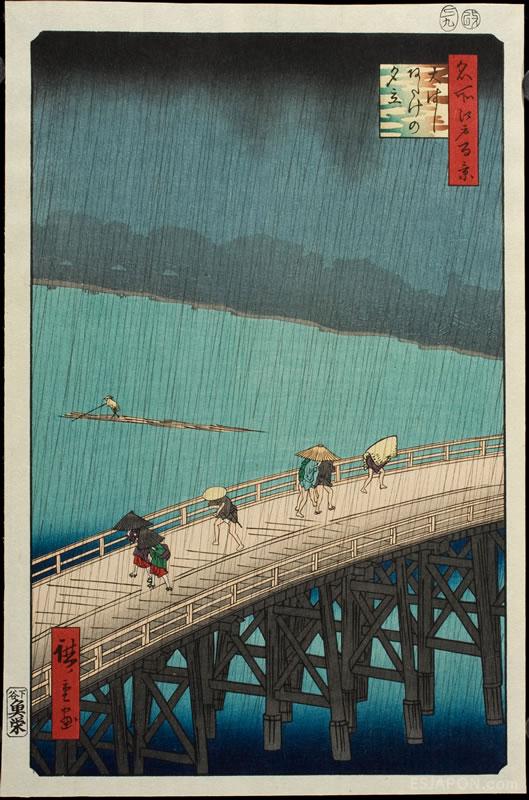 """""""Tormenta sobre el gran puente Ohashi y Atake"""" Hiroshige NIG 49461 Imágenes cedidas por el Museo de Zaragoza. Foto: J. Garrido."""