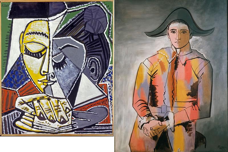 Izquierda: Cabeza De Una Lectura De La Mujer (1953) Derecha: Arlequín con las manos cruzadas (1923) © 2020 - Succession Pablo Picasso - BCF(JAPAN)
