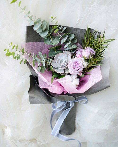 Sweet Lilac Purple Roses | Hand Bouquet Flower KL | Eska Creative GiftingFlower