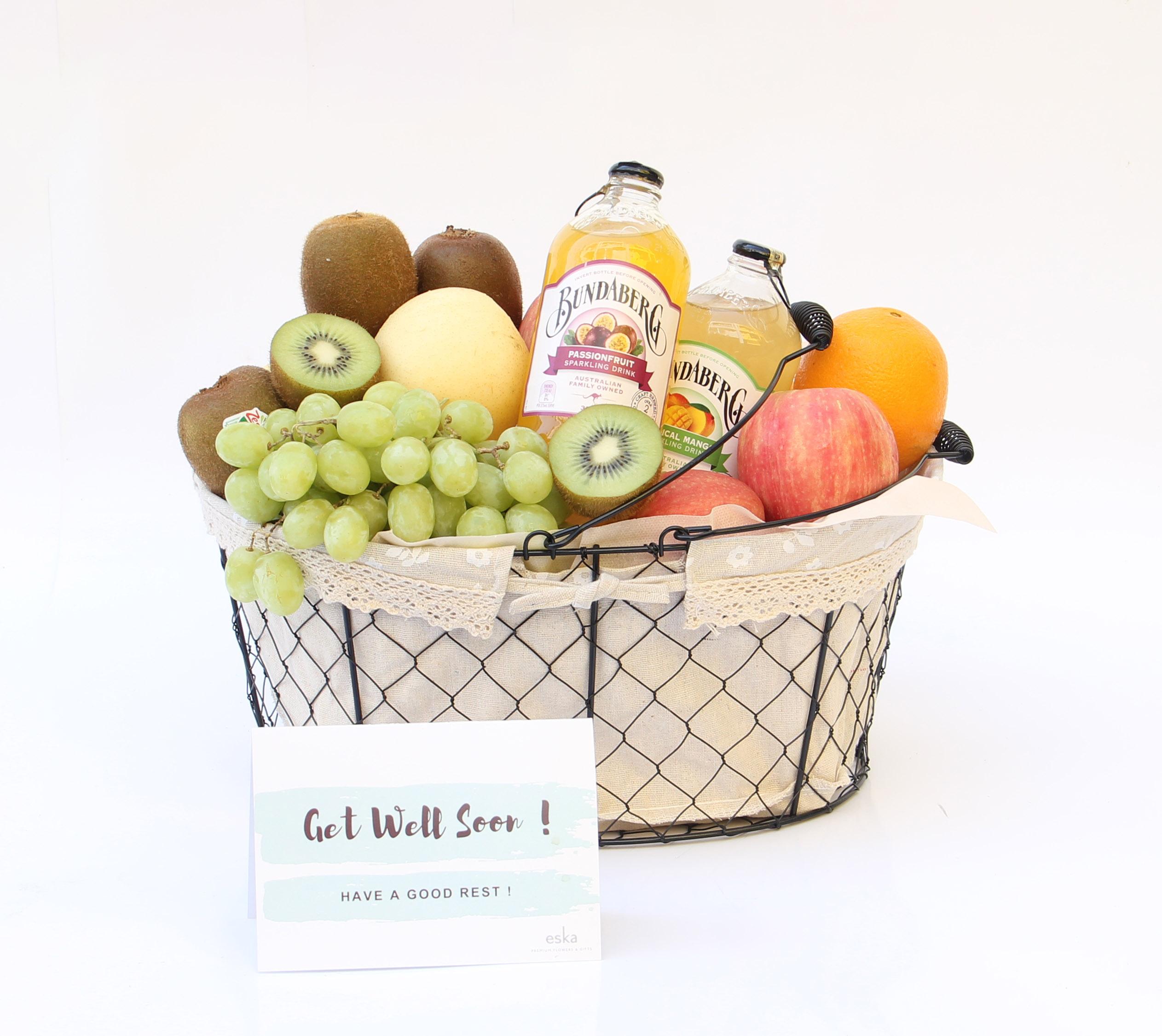 Fruit & Juices basket for get well | Fruits Basket | Eska Creative Gifting