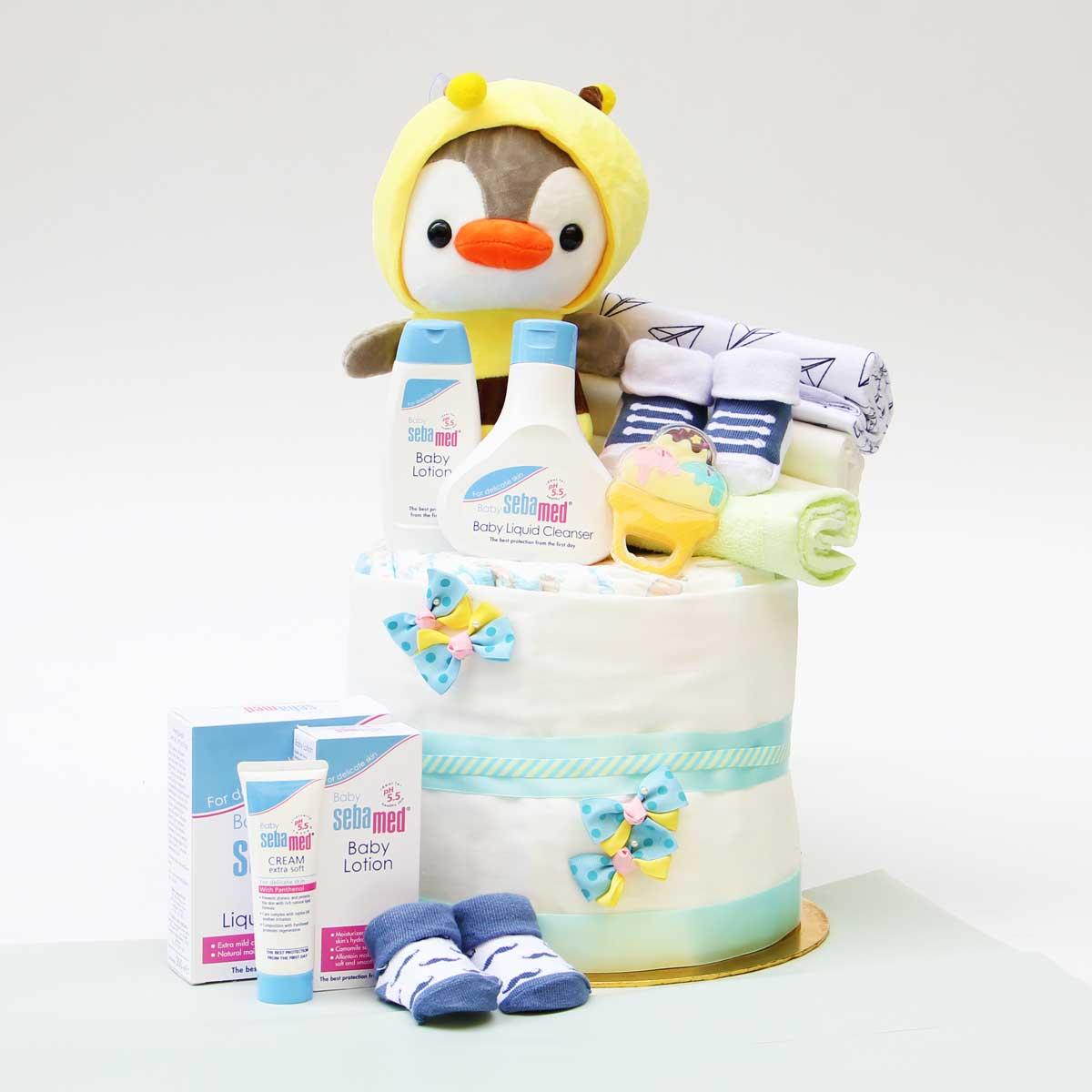 Sebamed Baby Bath Diaper Cake | Newborn Baby Gifts | Eska Creative Gifting