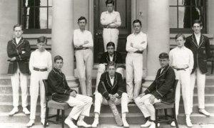 Samuel-Beckett (second from left) with his school cricket team in 1920