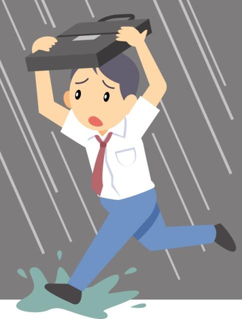 傘がない雨の場合、走っても歩いても濡れる量は同じでは?