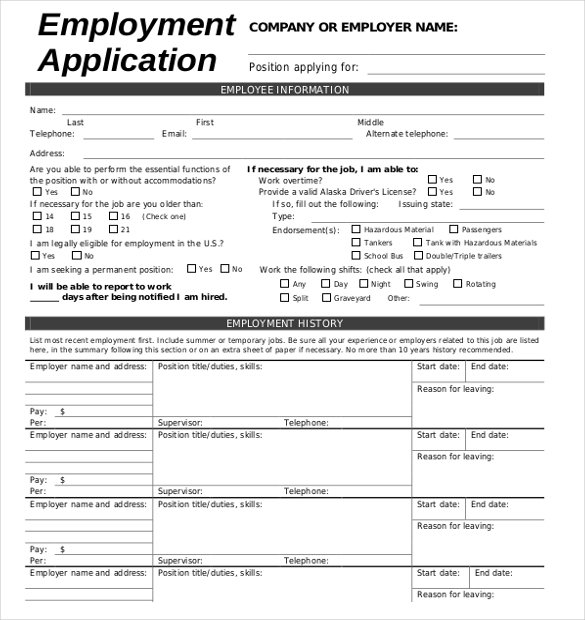 filling out an application