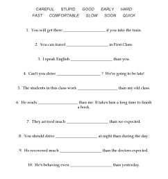 Comparative Adverbs Worksheet - Eslbase.com [ 2339 x 1653 Pixel ]