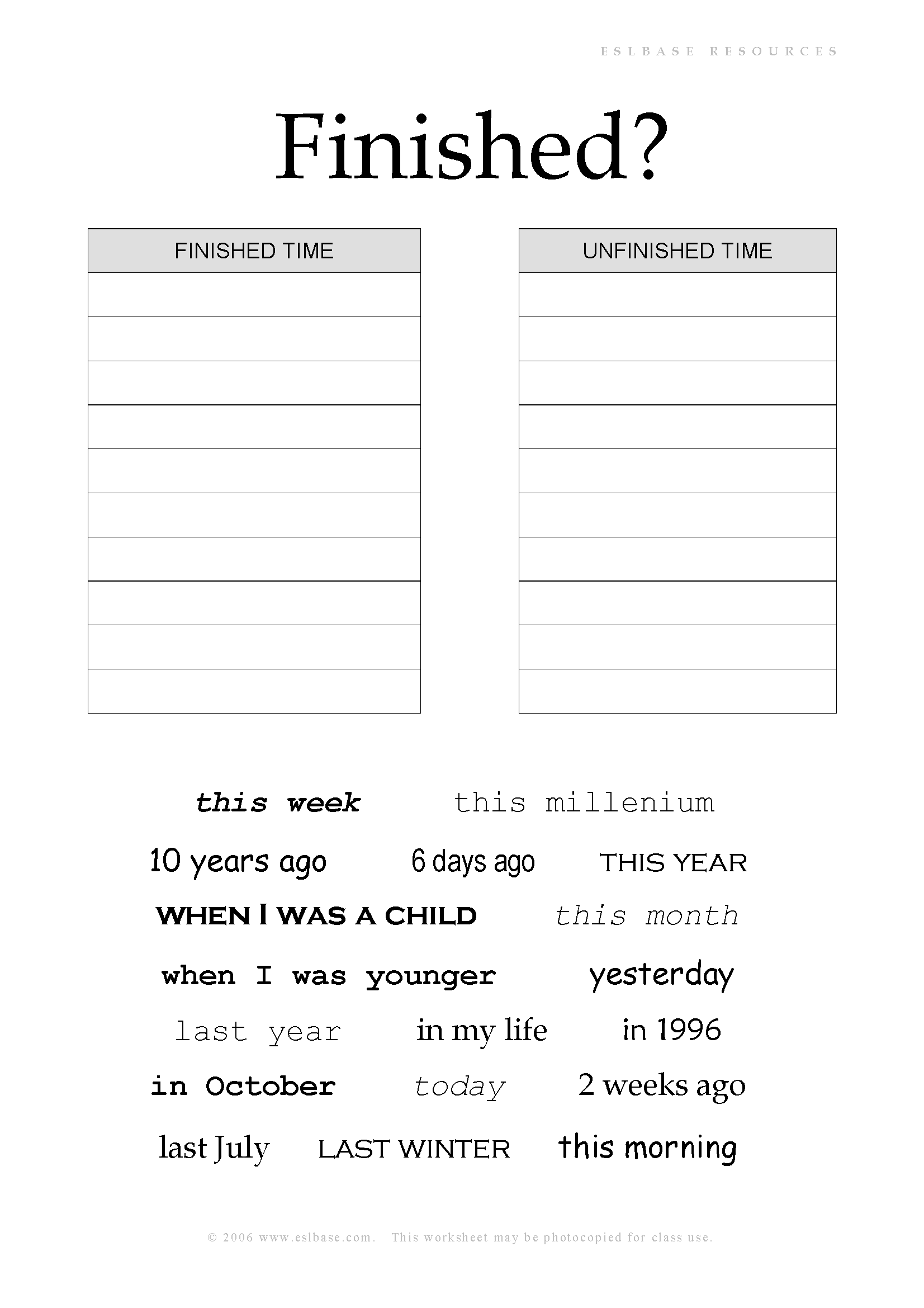 Worksheet Time Expressions
