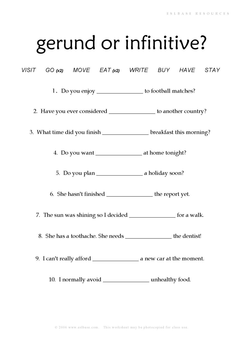 medium resolution of 34 Gerund Or Infinitive Worksheet - Free Worksheet Spreadsheet