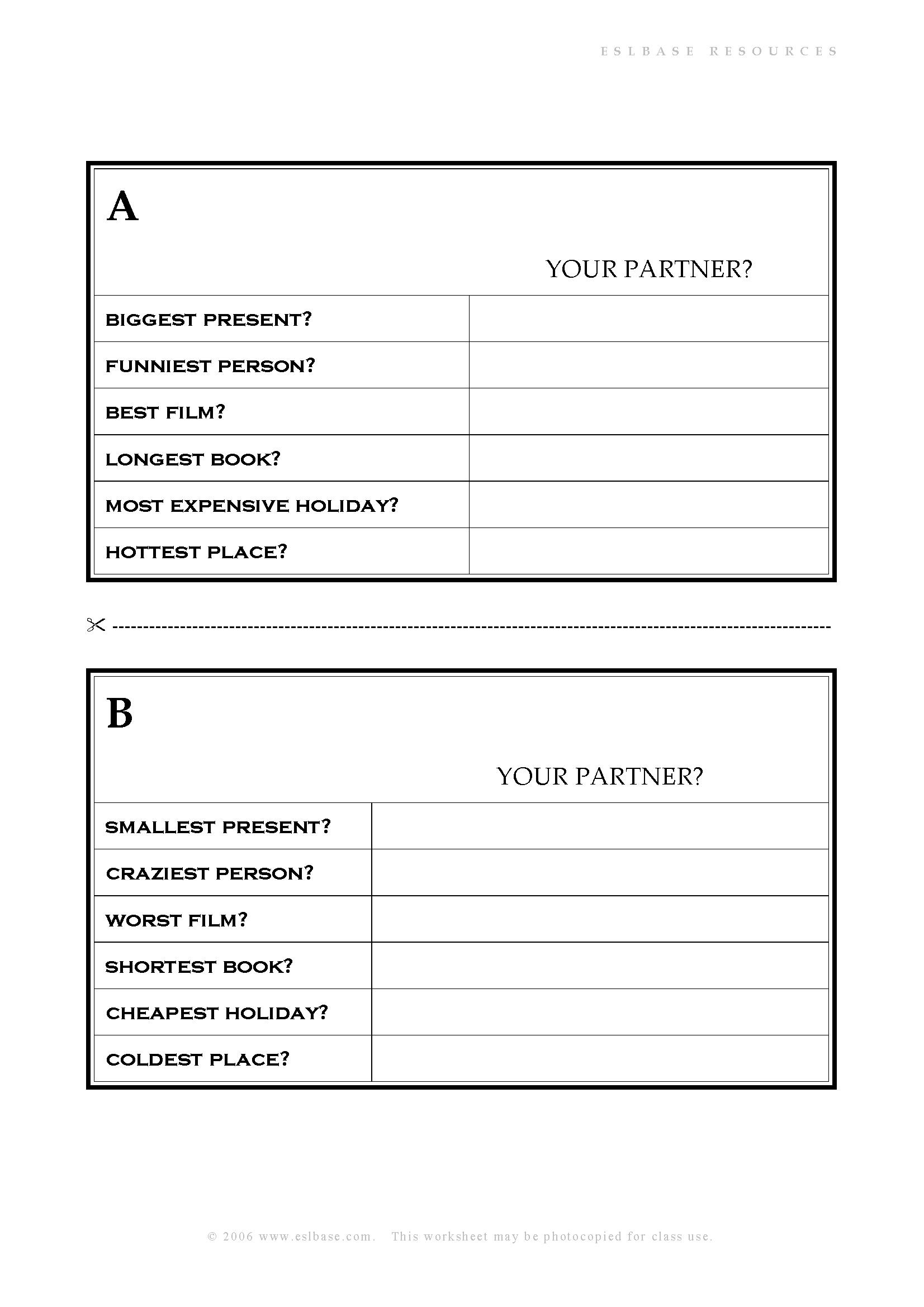 Superlative Adjectives Questionnaire