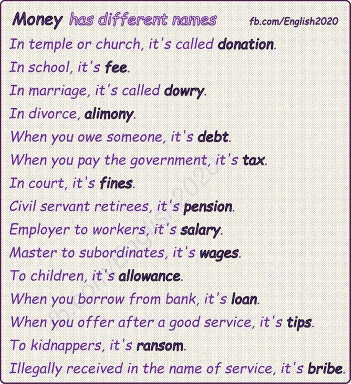 Money Has Different Names Esl Buzz