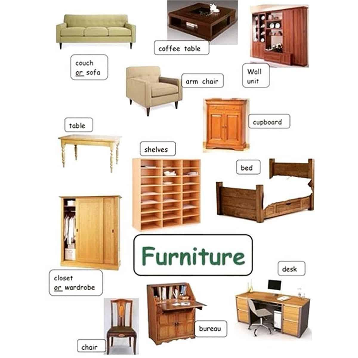 Quot Furniture Quot Vocabulary 250 Items Illustrated Esl Buzz