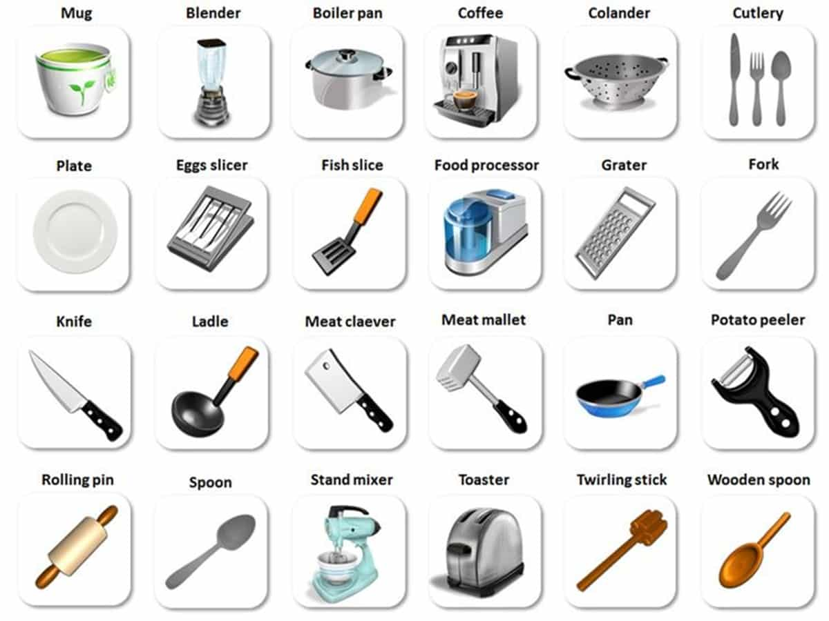 In The Kitchen Vocabulary Kitchen Utensils Amp Cooking