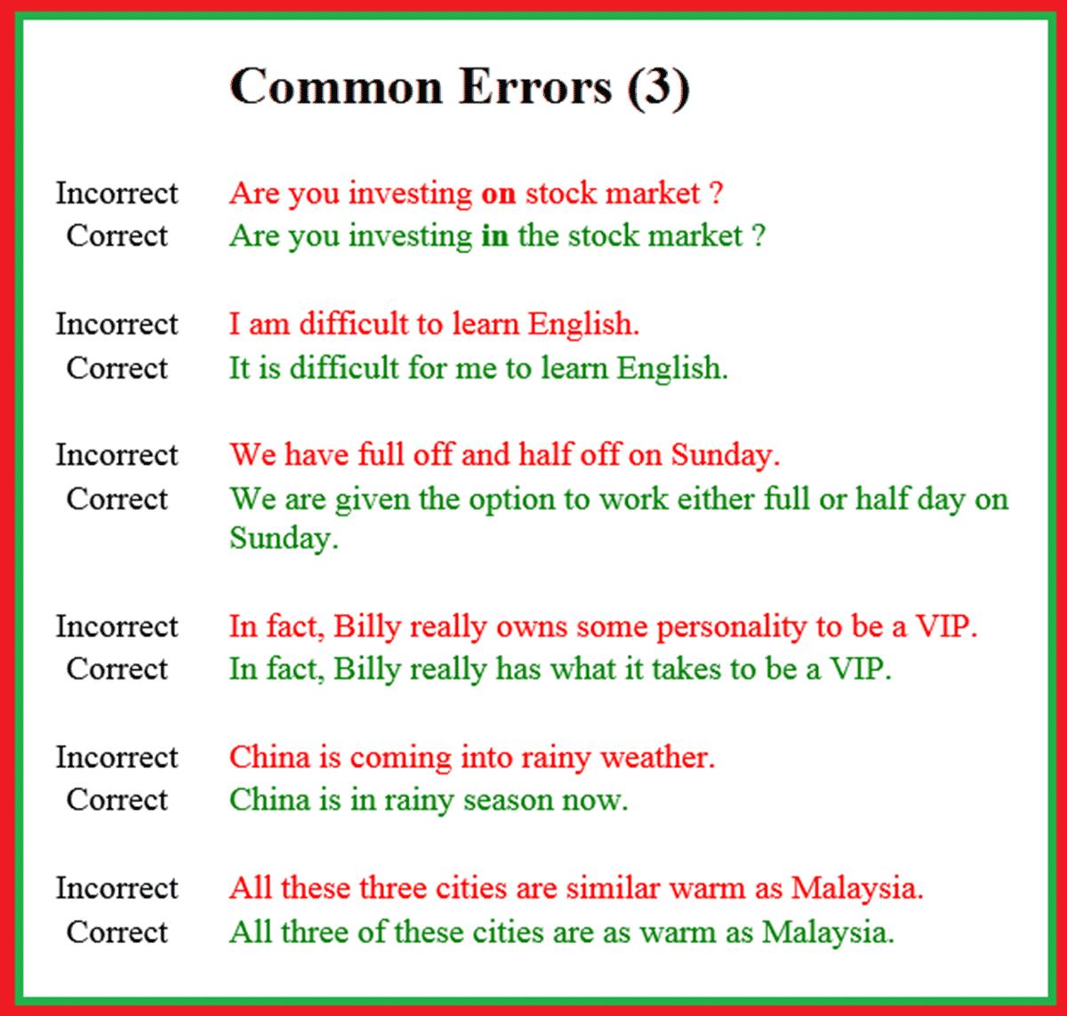Common Errors In English Usage