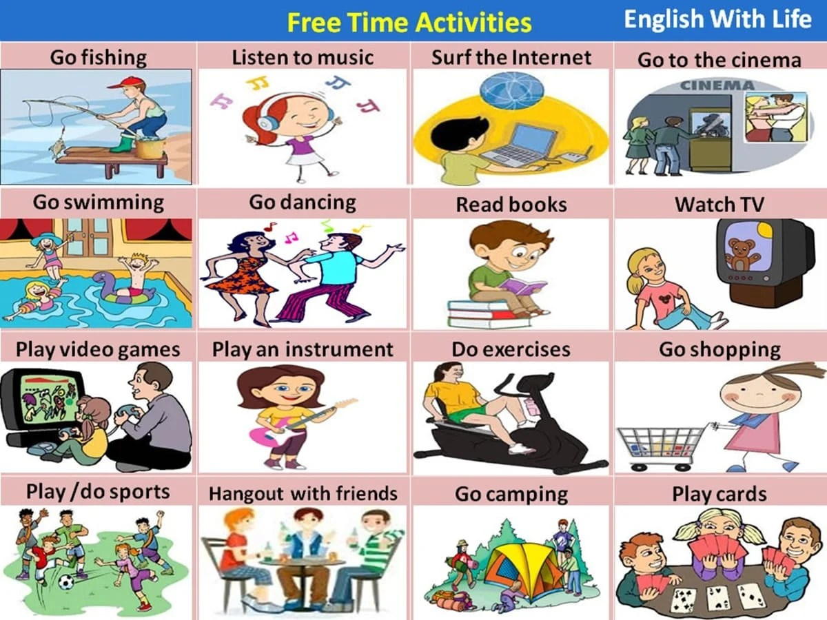 Free time and leisure activities vocabulary in english for Fishing times free