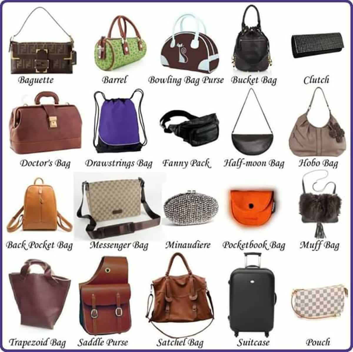 English Vocabulary: Different Types of Handbags