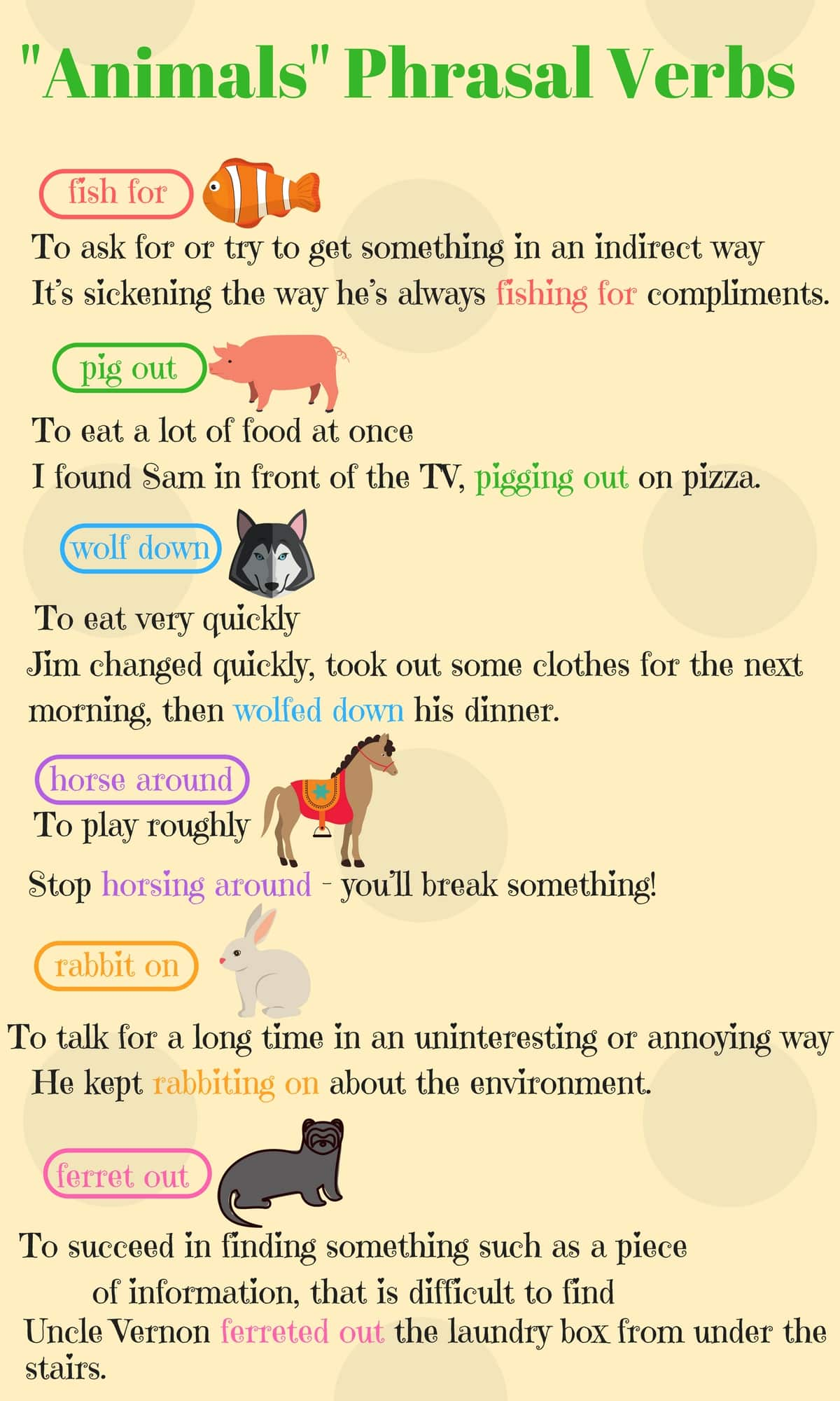 """""""Animals"""" Phrasal Verbs in English (With Meanings & Examples) 14"""