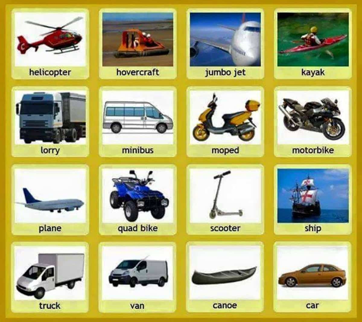 Street Vehicles and Transportation Vocabulary in English 15
