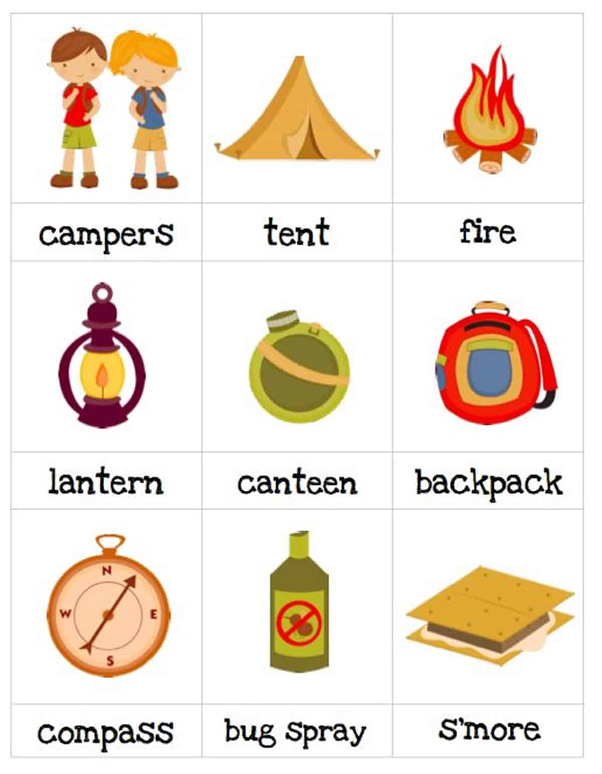 English Vocabulary Camping Tool Set