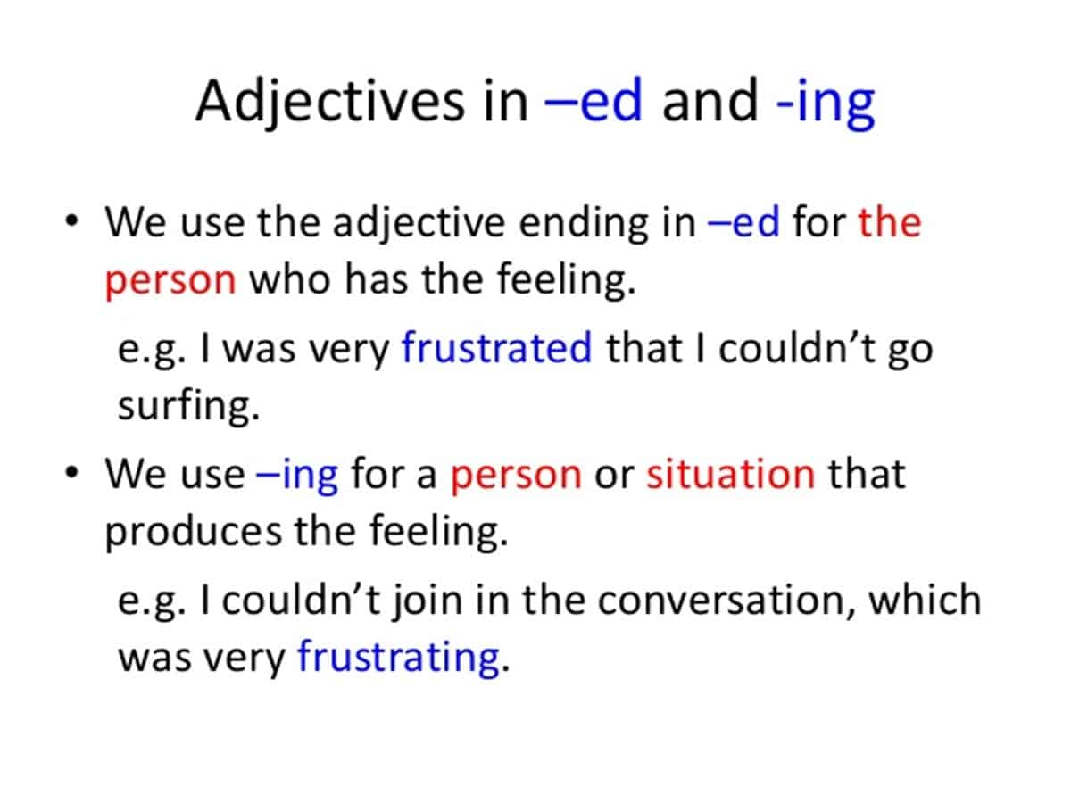 List Of Words Ending In Ing And Ed In English
