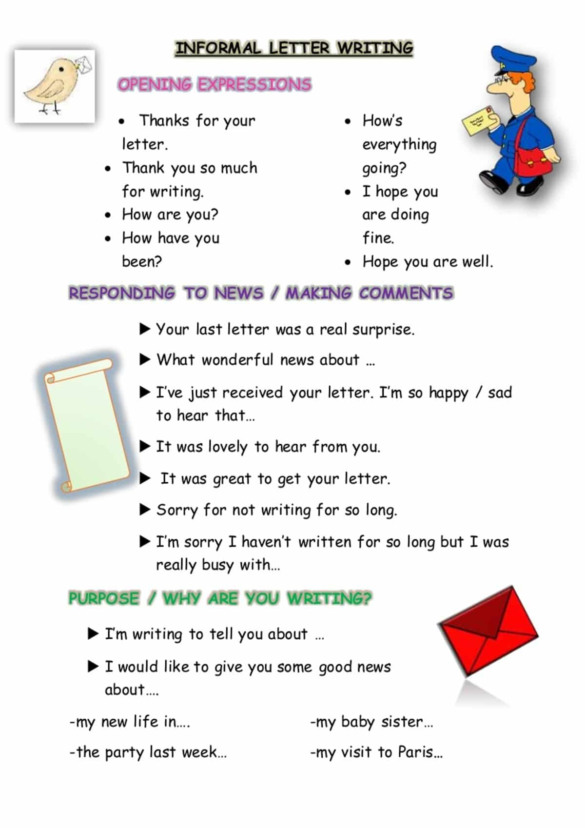 How To Begin An Informal Letter In French