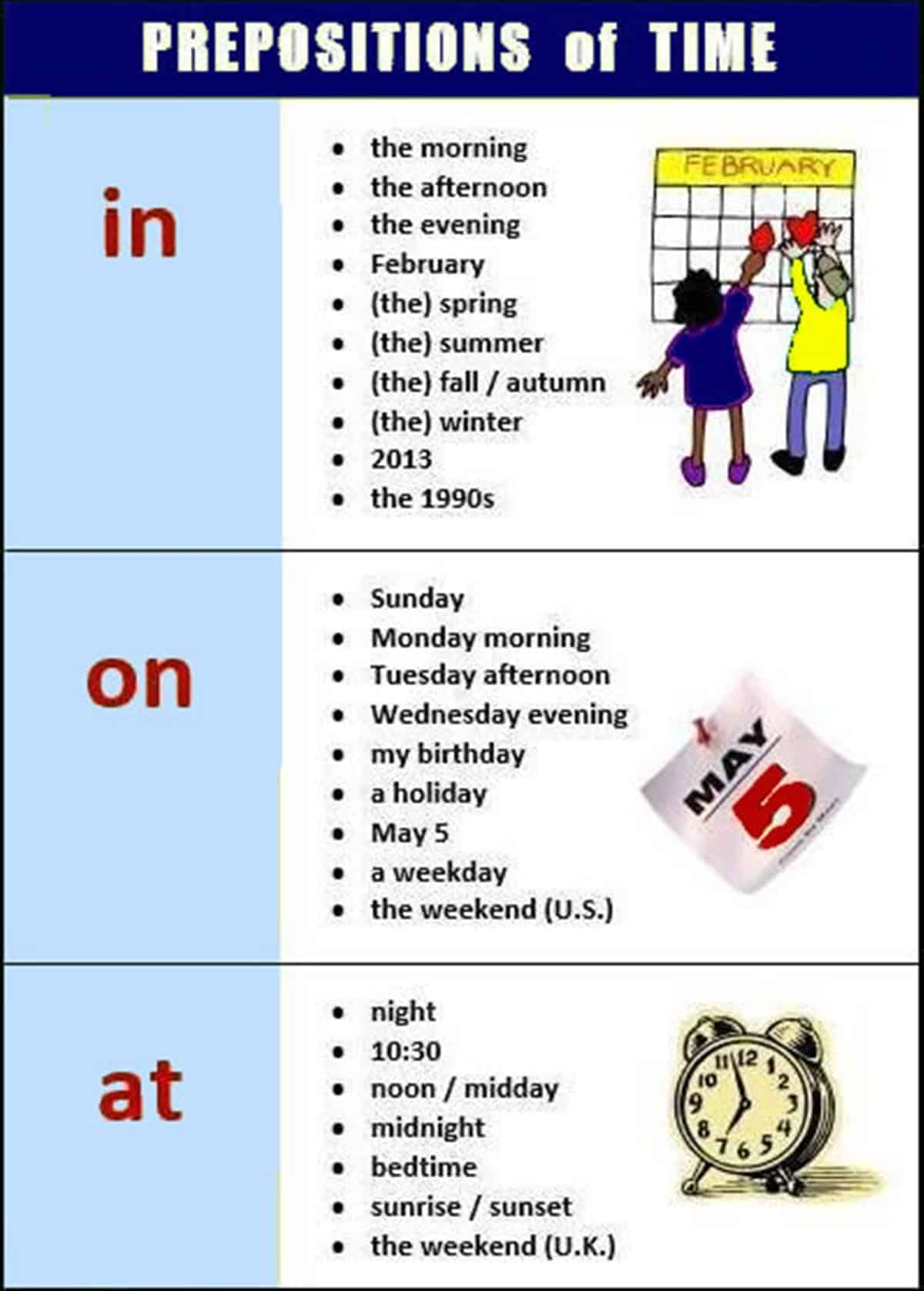 Prepositions Of Time Place And Movement