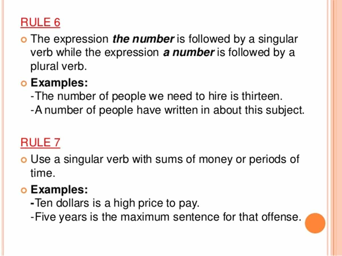 Must know rules for subject verb agreement esl buzz rule 6 there and here are never subjects in sentences that begin with these words the subject is usually found later on in the sentence platinumwayz