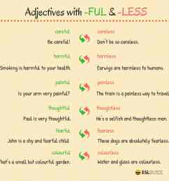 English Grammar: Adjectives Ending in -FUL or -LESS - ESLBuzz Learning  English [ 1500 x 1500 Pixel ]