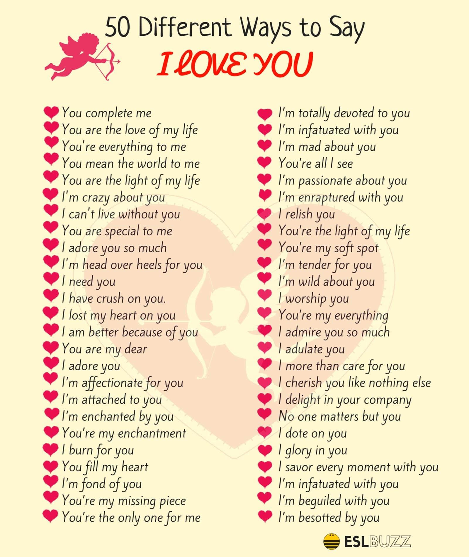 100+ Beautifully Romantic Ways To Say I LOVE YOU! - ESL