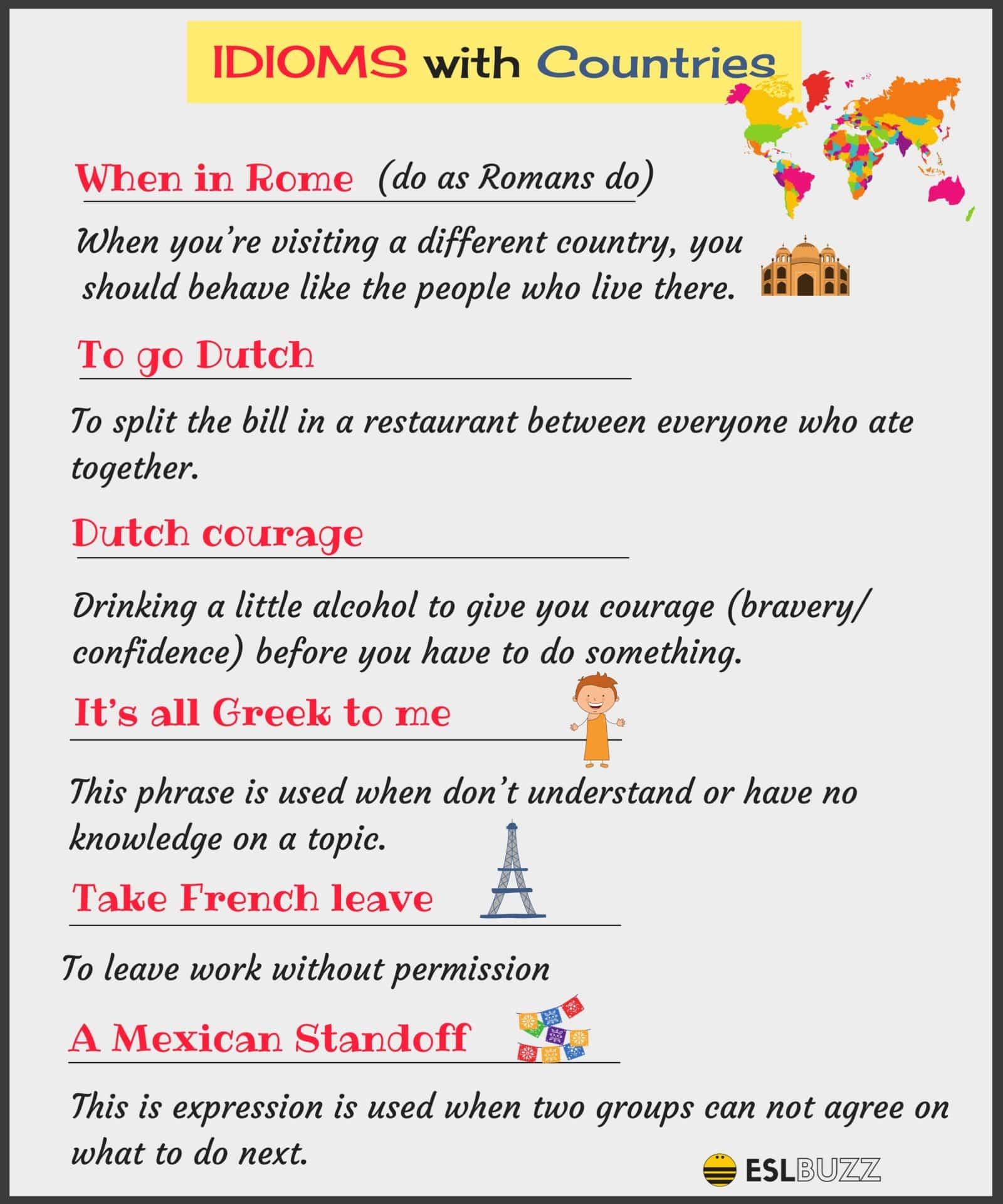 Interesting English Idioms Using Nationalities and Countries 14