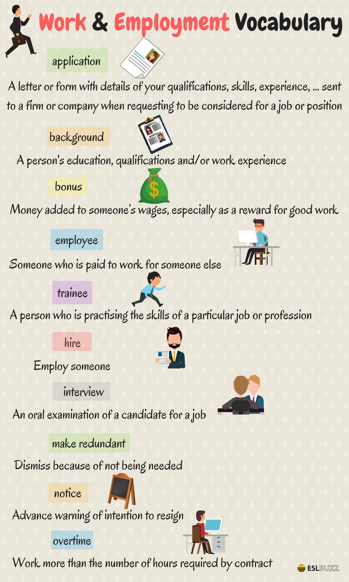 35 Useful English Words And Expressions About Work And