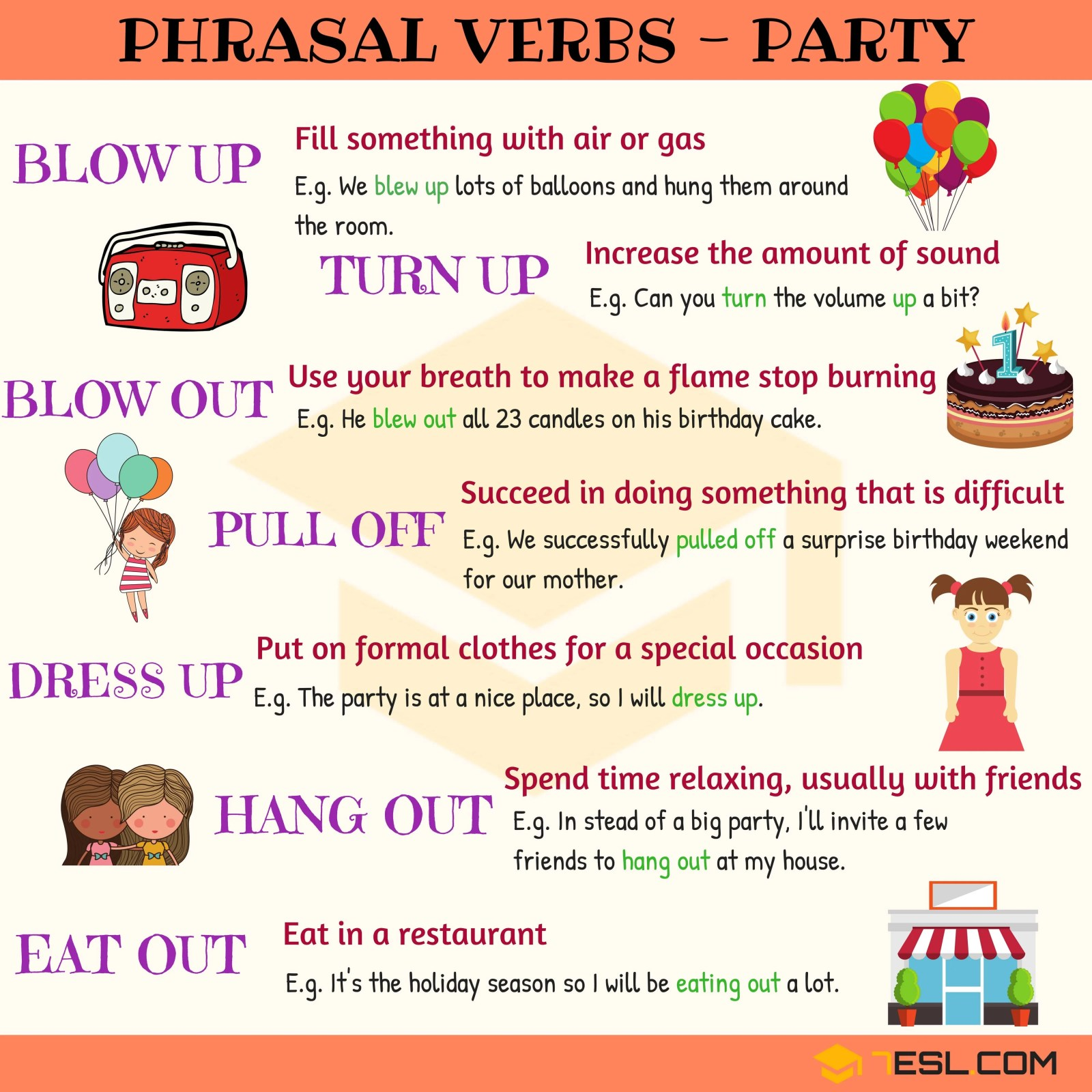 Useful Phrasal Verbs about PARTY in English 14
