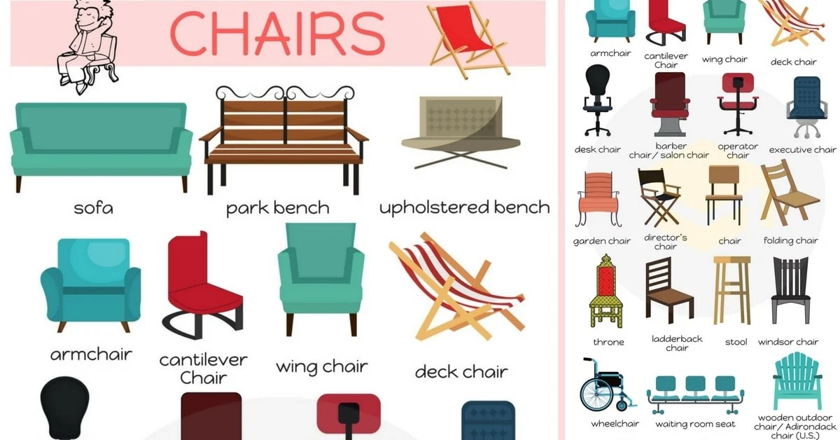 English vocabulary different types of chairs esl buzz for Names of different style homes