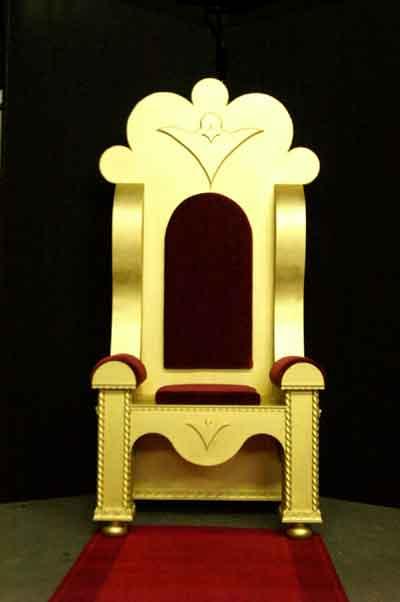 Welkom bij de gouden troon en koninklijke zetel en de