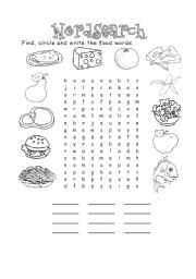 English teaching worksheets: Food wordsearch