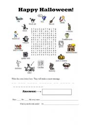 Halloween Secret Message Word Search