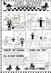 English worksheets: rooms in the house worksheets, page 7