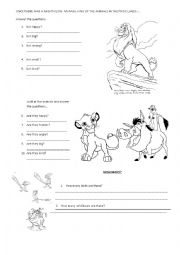 English worksheets: The Lion King Movie Worksheet: Answer