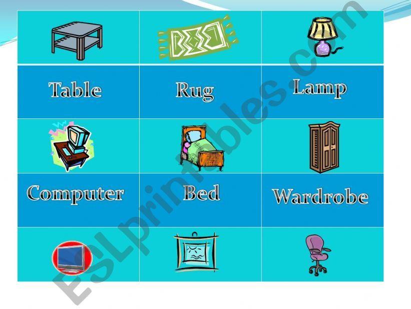 Esl English Powerpoints Bedroom Furniture Memory Game