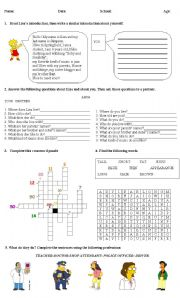 Diagnostic tests worksheets