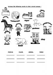 English Worksheets Classify The Nouns