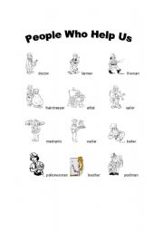 English worksheets: PEOPLE WHO HELP US