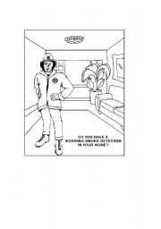 English worksheets: Fire Safety Quiz/Drawings (part 2)