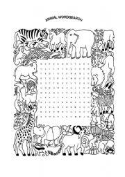 English Exercises: Animal Wordsearch