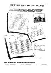 Endangered species worksheets