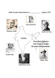 English worksheets: Freedom fighters/ independence