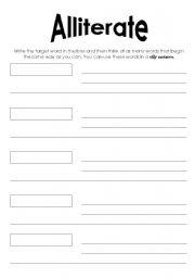 English Worksheets Alliteration