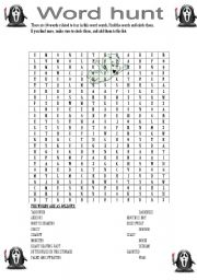 English worksheets: Fear Word Hunt