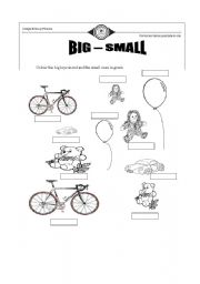 English worksheets: big small